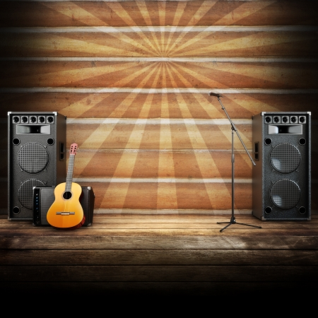 Country music stage or singing background, microphone, guitar and speakers with wood flooring and sunburst background