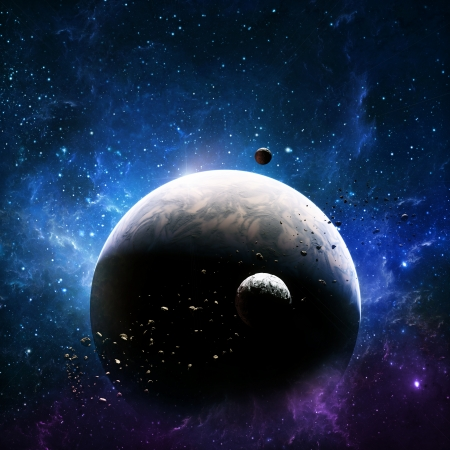 Exploration , planet in deep space with two moons