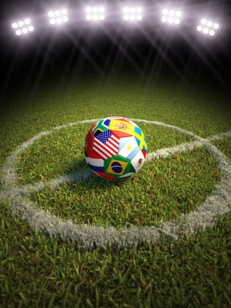3d rendering of a soccer ball on a soccer field of the participating countries