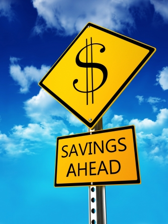 Savings ahead concept   Road sign depicting low prices on retail ,retirement in your future or investment planning