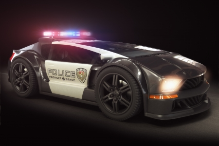 Photo for Futuristic modern Police car cruiser, with full array of lights  3d model scene  - Royalty Free Image