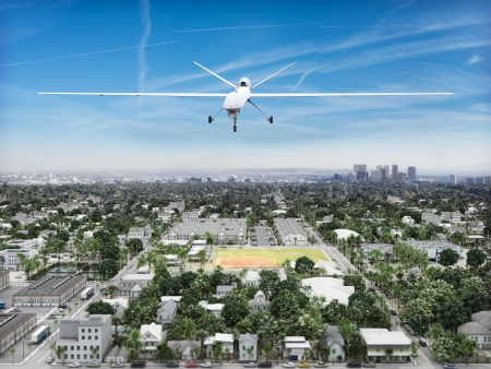 UAV predeator drone flying of an Urban landscape  Governement surveillance concept