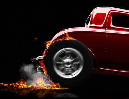 Hot rod burnout on a black background with room for text or copy space