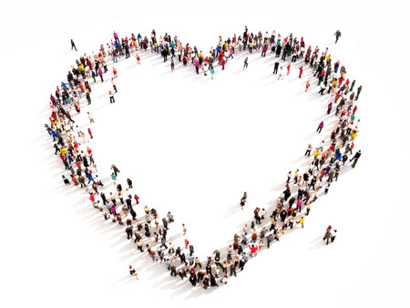 Large group of people in the shape of a heart  High angle view on a white background
