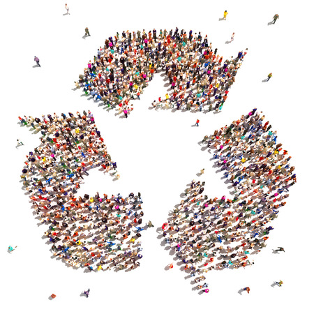 People that recycle   Large group of people in the shape of a recycle symbol that support environmental change