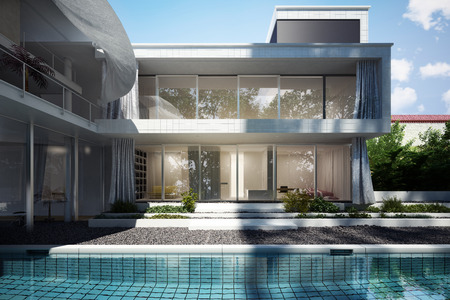 Contemporary home with open floor design and curtains blowing in the wind with a pool view.