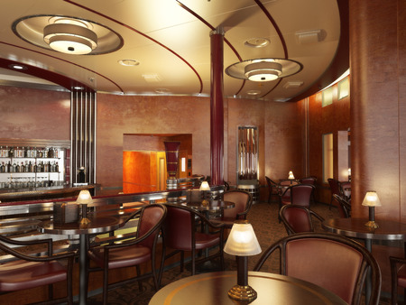 Classy upscale restaurant interior with bar.