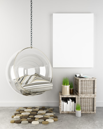 Mock up poster in hipster interior background, Photo realistic 3D render scene.