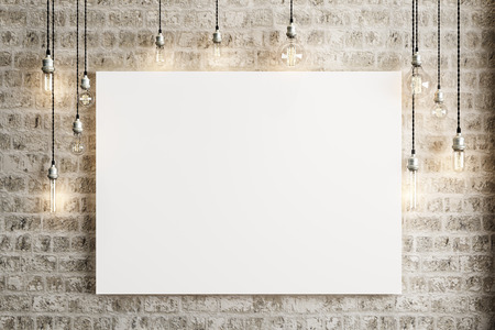 Mock up poster with ceiling lamps and a rustic brick background, Photo realistic 3d illustration.