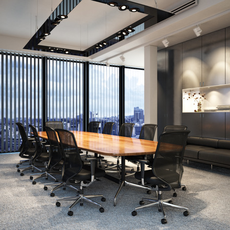 Foto de Executive modern empty business office conference room overlooking a city. Photo realistic 3d model scene. - Imagen libre de derechos