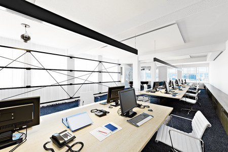 Photo pour High rise functional contemporary modern business office conference room overlooking a city. Photo realistic 3d rendering - image libre de droit