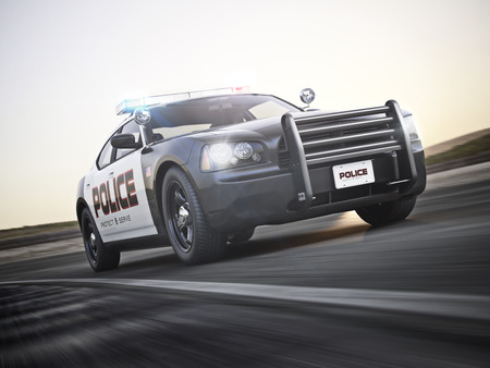 Foto de Police car running with lights and sirens on a street with motion blur. Photo realistic 3d model scene. - Imagen libre de derechos