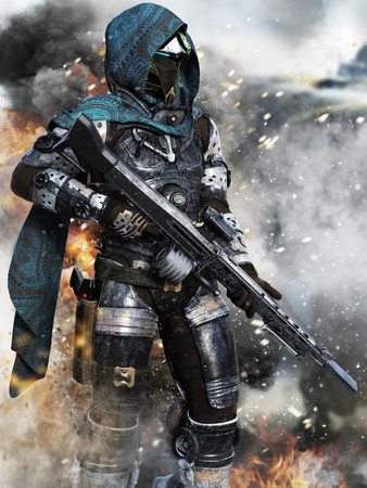 Futuristic ranger space Marine surveying the Battlefield . 3d rendering