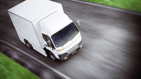 Photo pour Generic white industrial transport truck traveling down the road with motion blur. Room for text or copy space. 3d rendering - image libre de droit