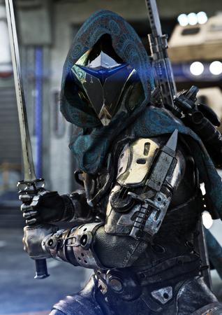 Foto de Space hunter, science fictional armored marine posing with multiple weapons and sword in hand. 3d rendering - Imagen libre de derechos