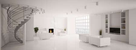 Modern living room with fireplace and stair panorama 3d