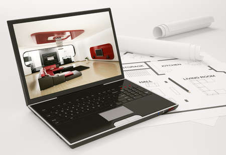 Photo for Laptop and blueprint of housing project 3d render - Royalty Free Image