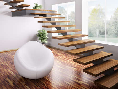 Interior with white armchair and wooden staircase 3d render