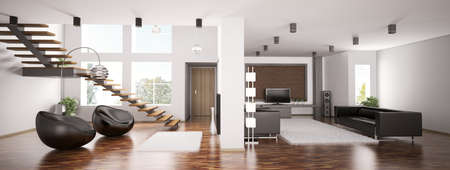 Interior of apartment panorama 3d render