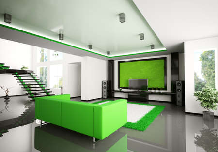 Modern interior of living room with stair 3d render