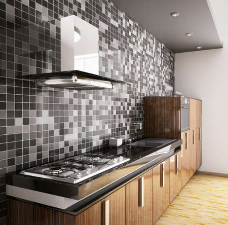Modern ebony wood kitchen with sink,gas cooktop and hood interior 3d