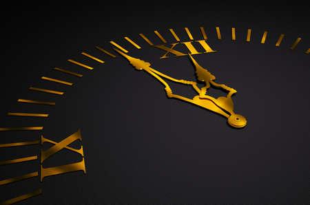 Black clock with golden hands 3d render
