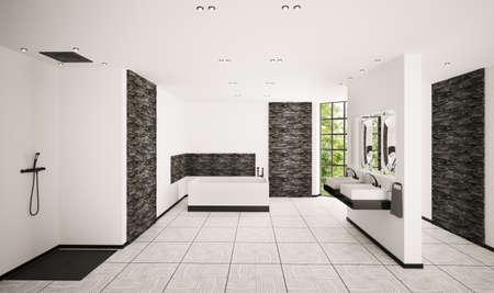 Modern bathroom with black brickwalls interior 3d render