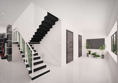 Interior of modern entrance hall with staircase 3d render