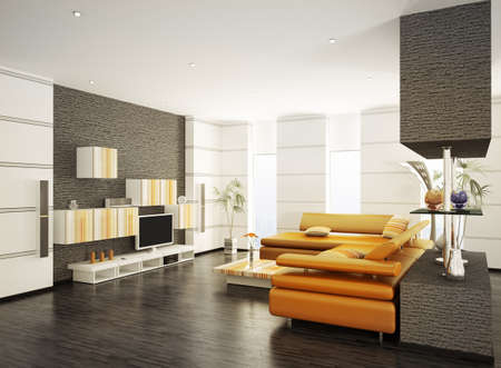 Modern living room with orange sofa and LCD interior 3d renderの写真素材