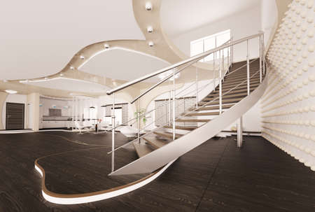Modern interior of living room with staircase 3d render