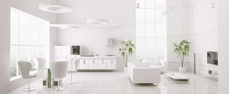Interior of modern white apartment living room kitchen 3d render