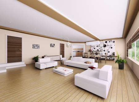 Interior of modern apartment, living room 3d render