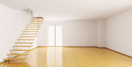 Empty interior of a room with staircase 3d render