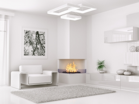 Photo pour Interior of modern white room with armchair and fireplace 3d render - image libre de droit