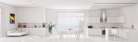Photo pour Interior of white apartment kitchen dining room panorama 3d render - image libre de droit