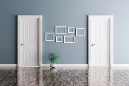 Interior of a room with two classic doors and frames