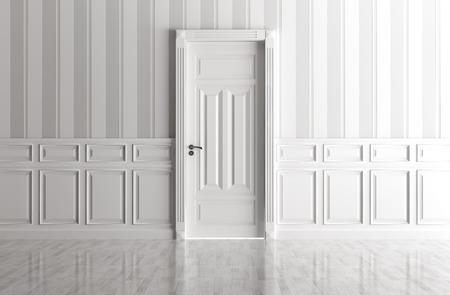 Photo pour Interior of a white room with classic door - image libre de droit