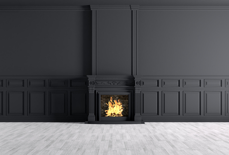Photo for Interior of empty classic room with fireplace over black panels wall 3d rendering - Royalty Free Image