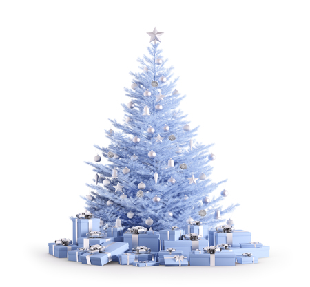 Blue christmas tree with silver baubles, gifts isolated over white 3d render
