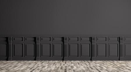 Photo pour Black classic interior with wall paneling background 3d render - image libre de droit