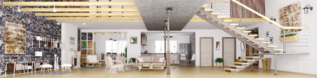 Photo pour Panorama of modern loft apartment interior, living room, hall, kitchen, dining room,staircase, 3d rendering - image libre de droit