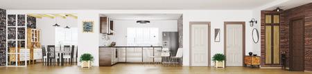 Foto de Modern apartment interior, living room, hall, kitchen, dining room, panorama 3d render - Imagen libre de derechos