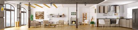 Photo pour Modern apartment interior, living room, kitchen, lounge area, panorama 3d render - image libre de droit