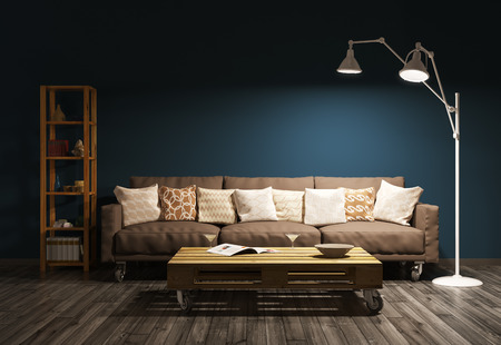 Photo pour Modern evening interior of living room with sofa, floor lamp against of brown wall 3d render - image libre de droit