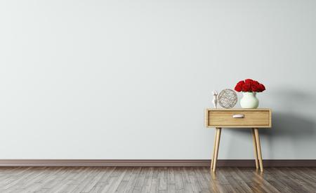 Foto de Interior of living room with wooden side table 3d render - Imagen libre de derechos