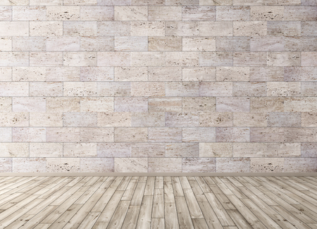 Foto de Interior background of room with stone tiles wall and wooden floor 3d render - Imagen libre de derechos