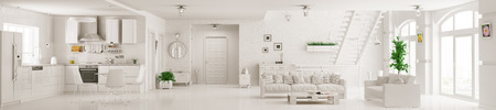 Photo pour Interior of white apartment kitchen hall living room staircase panorama 3d rendering - image libre de droit
