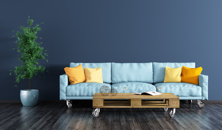 Photo for Modern interior of living room with navy blue wall, sofa, pallet table and plant 3d rendering - Royalty Free Image