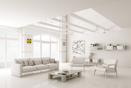 White modern living room interior with sofa and armchairs 3d rendering