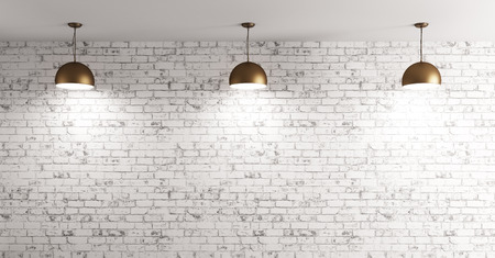 Photo pour Three brass lamps over grunge brick wall room interior background 3d render - image libre de droit